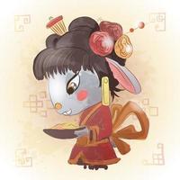 lapin chinois zodiaque animal dessin animé vecteur