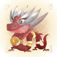 dragon, zodiaque chinois, animal, dessin animé vecteur
