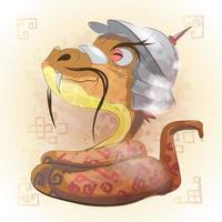 serpent, animal, zodiaque chinois, dessin animé animal vecteur