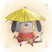 chien zodiaque chinois animal dessin animé vecteur