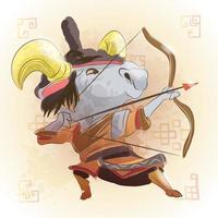 chèvre zodiaque chinois animal dessin animé vecteur