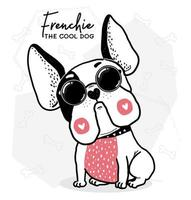 bouledogue français cool avec des marques de coeur et des lunettes de soleil vecteur