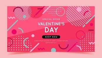 bannière de vente Saint Valentin avec des formes géométriques