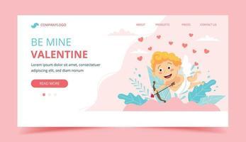 page de destination de la saint valentin avec cupidon vecteur