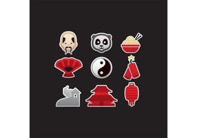 Icônes colorées vecteur chinois