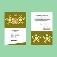 modèle de carte d'identité verticale vert citron
