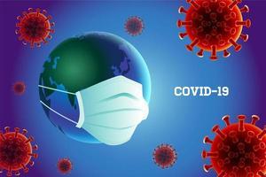 Prévention du coronavirus Covid-19 avec masque de protection contre la terre