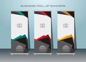 conception de bannière enroulable de forme angulaire en 3 couleurs vecteur