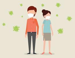 les gens portant des masques entourés de virus