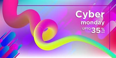 Bannière cyber lundi multicolore avec forme de tire-bouchon