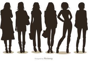 Pack de vecteurs de fille de mode silhouette 1 vecteur