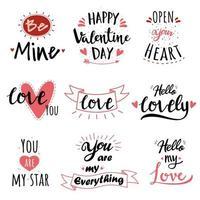 ensemble de texte à la main de la Saint-Valentin vecteur