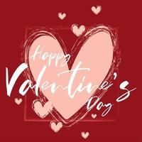 cadre coeur dessiné à la main joyeux Saint Valentin vecteur