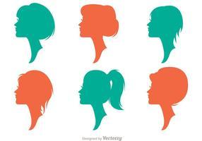 Silhouette femme avec des vecteurs de coiffures Pack 2 vecteur