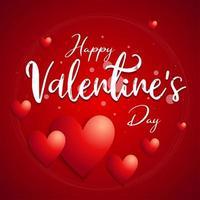 affiche de typographie de cercle `` happy valentine's day ''