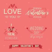 ensemble de phrases de fond rose de la Saint-Valentin vecteur