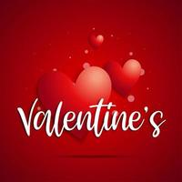 Texte de la main `` valentine '' sur les coeurs vecteur