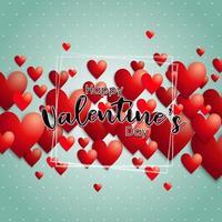Cadre de lettrage à la main `` Happy valentine's day '' avec des coeurs derrière vecteur