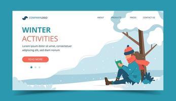 fille lisant dans le parc en hiver landing page