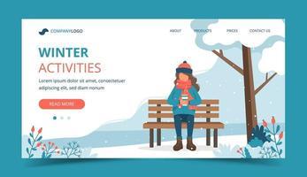 fille sur un banc en hiver avec une page de destination de café vecteur