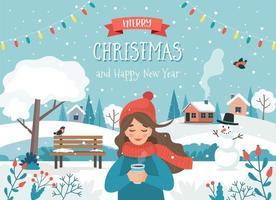 carte de joyeux Noël avec fille et paysage d'hiver