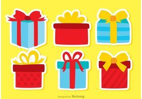 Ensemble de vecteurs d'icônes d'anniversaire de coffre-cadeau