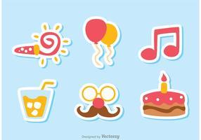 Vecteurs d'icônes d'anniversaire couleur Pack 2