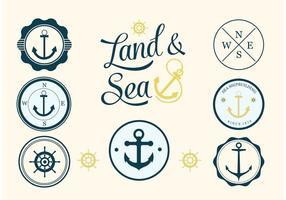 Ensemble d'étiquettes de vecteur nautique gratuit