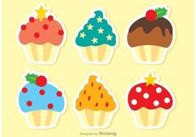 Pack de vignettes Cupcake de Noël vecteur