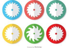 Icône cercle d'un paquet vectoriel de lame de scie circulaire