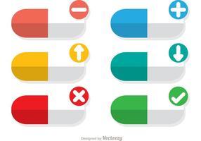 Vecteurs de pilules colorés avec des icônes