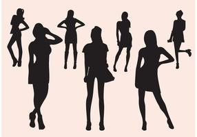 Ensemble de silhouette de fille de vecteur libre