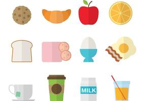 Icônes colorées de petit-déjeuner vecteur