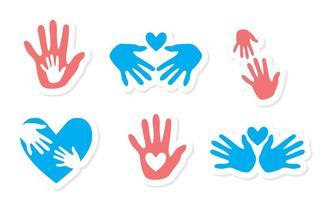 Ensemble vectoriel d'icônes d'aide à la main