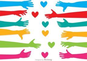 Ensemble vectoriel de l'amour à l'aide de la main
