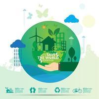 conception ronde verte sauver le monde infographique