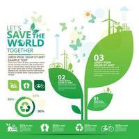 Eco business infographic avec la croissance des plantes