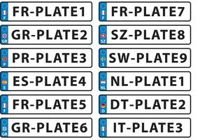 Vecteurs européens de plaque d'immatriculation vecteur