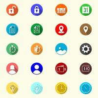 icônes colorées dans un ensemble de style plat vecteur
