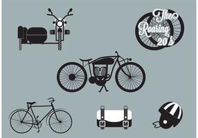 Ensemble de moto et de vélo de 20 ans vecteur