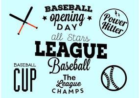 Ensemble typographique du jour de l'ouverture du baseball vecteur