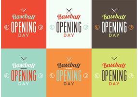 Ensemble de logo de journée d'ouverture de baseball vecteur