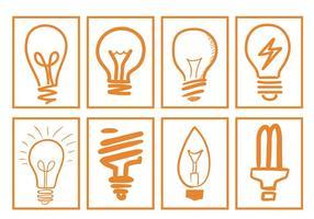 Vecteurs d'ampoules dessinées à la main