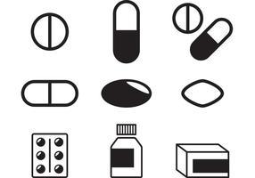 Vecteurs de pilules noir et blanc