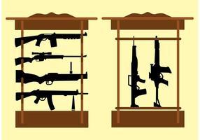 Étagère avec tireurs automatiques et fusils