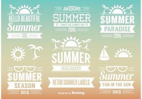 Etiquettes d'été rétro vecteur