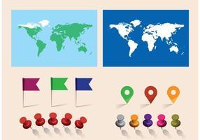 Carte mondiale de vecteur libre avec des épingles