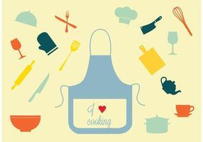Ensemble d'icônes de cuisine de vecteur gratuit