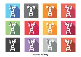 Icônes de la tour du téléphone cellulaire vecteur
