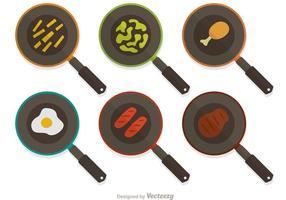 Ensemble vectoriel de poêle à frire